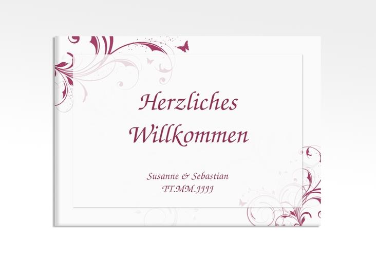 """Willkommensschild Hochzeit """"Palma"""" 70 x 50 cm Leinwand pink"""