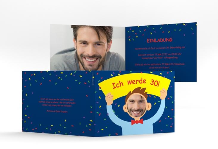"Einladungskarte ""Comic Man"" A6 Klappkarte Quer blau"