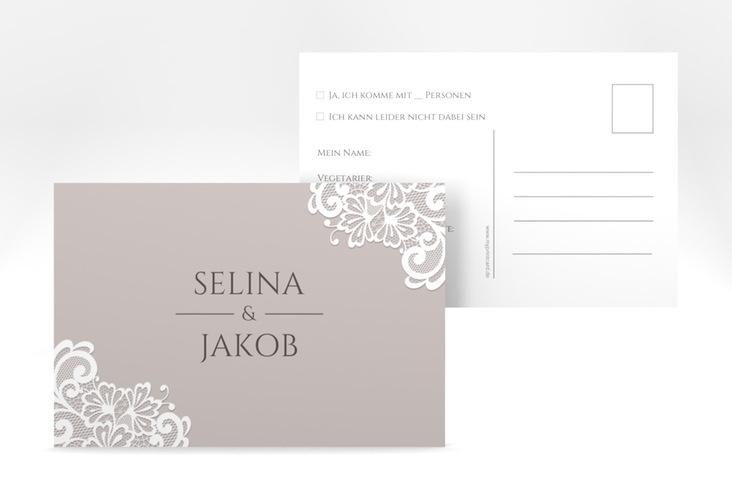 """Antwortkarte Hochzeit """"Vintage"""" A6 Postkarte"""