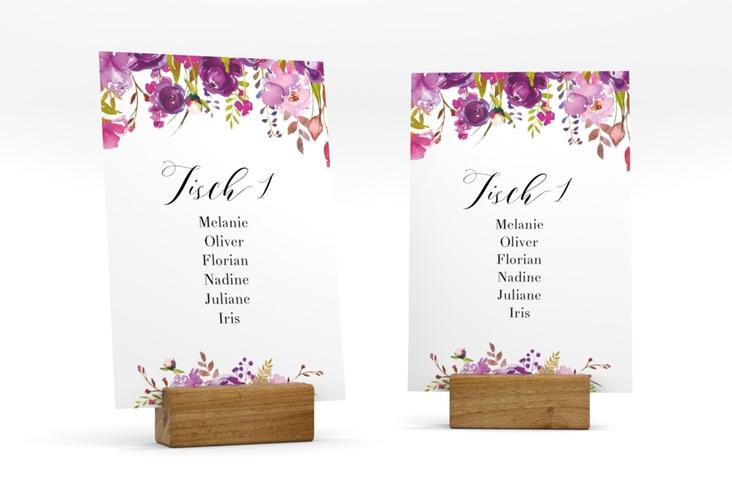 """Tischaufsteller Hochzeit """"Violett"""" Tischaufsteller weiss"""