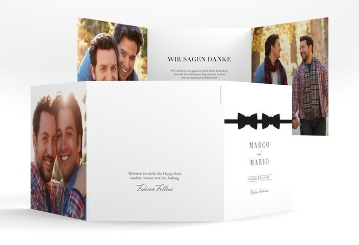 "Dankeskarte Hochzeit ""Suits"" Quadr. Karte doppelt"