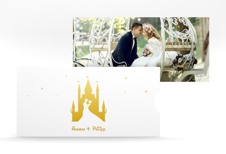 """Hochzeitseinladung """"Castle"""" Einsteckkarte gold"""