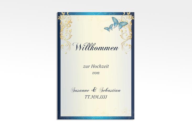 "Willkommensschild Leinwand ""Toulouse"" 50 x 70 cm Leinwand blau"