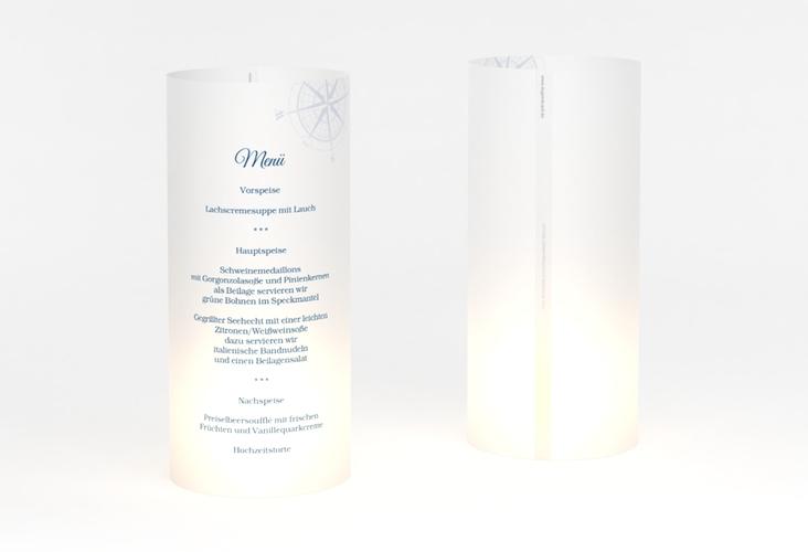 """Windlicht Menü Hochzeit """"Windrose"""" Windlicht blau"""