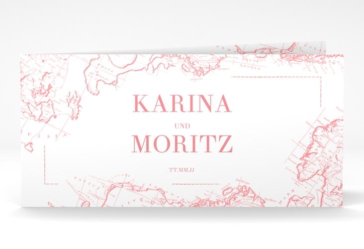 "Danksagungskarte Hochzeit ""Voyage"" DIN lang Klappkarte rosa"