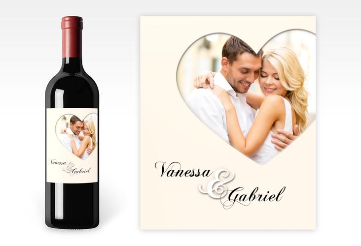 """Weinetikett zur Hochzeit """"Sweetheart"""" Etikett Weinflasche 4er Set beige"""