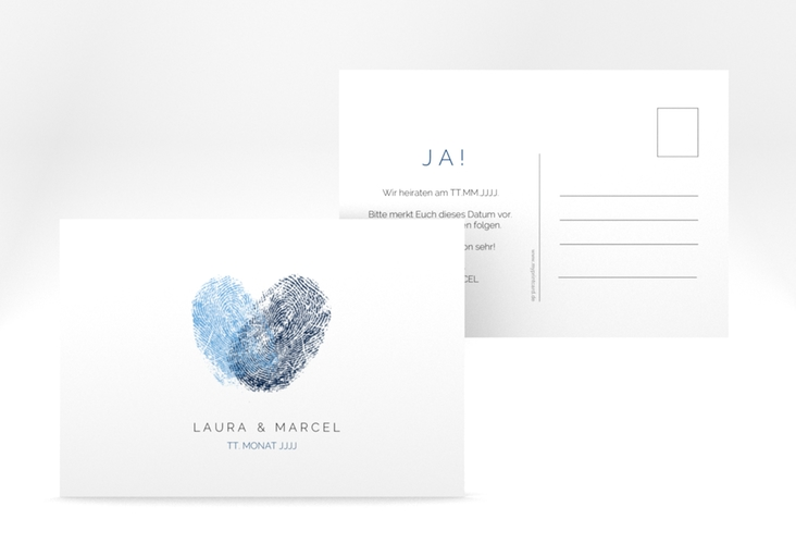 "Save the Date-Postkarte ""Fingerprint"" A6 Postkarte blau"