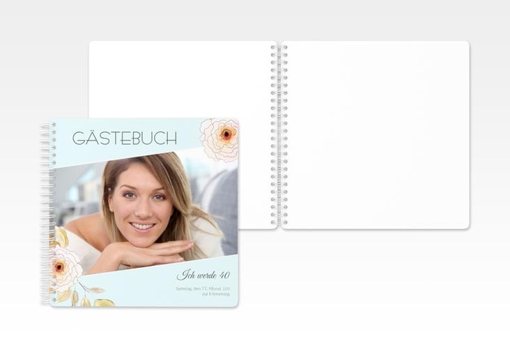 "Gästebuch Geburtstag ""Fleur"" Ringbindung tuerkis"