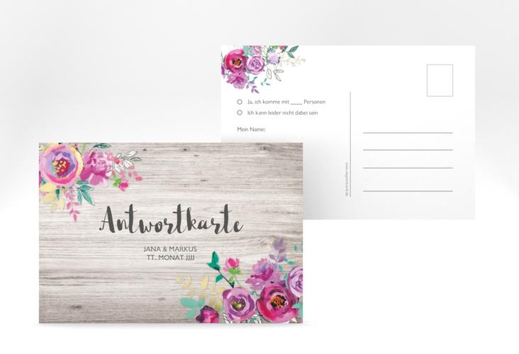 """Antwortkarte Hochzeit """"Flourish"""" A6 Postkarte weiss"""