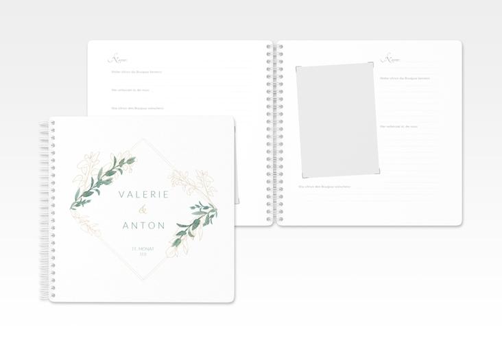 """Gästebuch Hochzeit """"Verde"""" Ringbindung"""