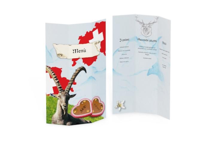 Menù matrimonio collezione Alpi DIN A4 Wickelfalz Svizzera
