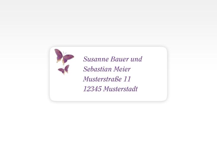 """Absenderetikett Hochzeit """"Toulouse"""" 45,7 x 21,2 mm lila"""