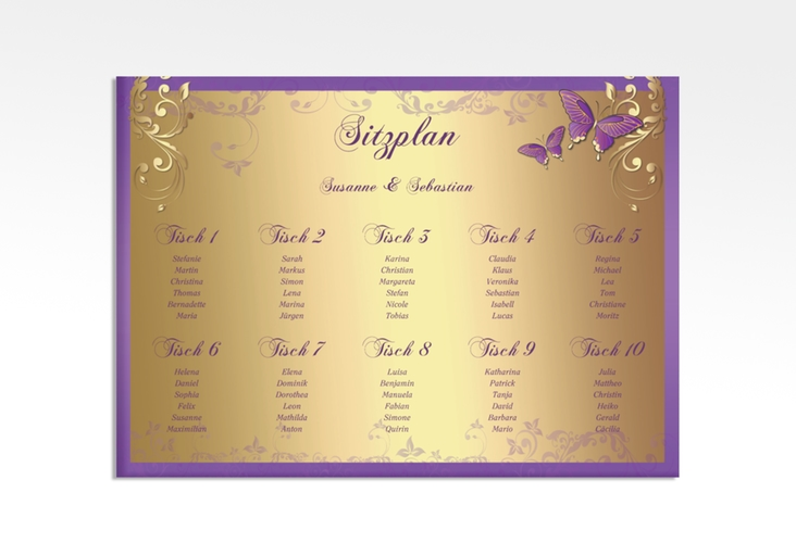 """Sitzplan Leinwand Hochzeit """"Toulouse"""" 70 x 50 cm Leinwand lila"""