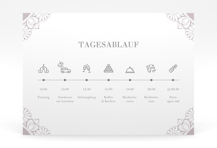 """Tagesablauf Poster Hochzeit """"Nostalgie"""" 70 x 50 cm Poster flieder"""