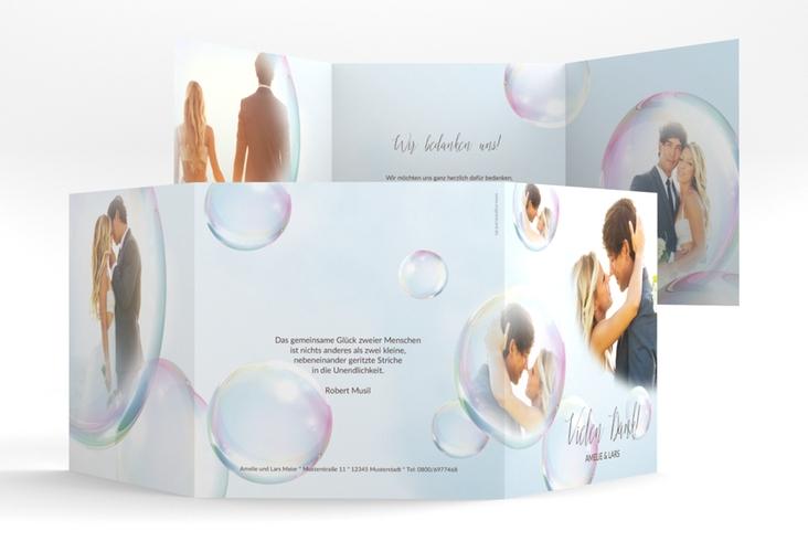 "Dankeskarte Hochzeit ""Dreams"" Quadr. Karte doppelt weiss"