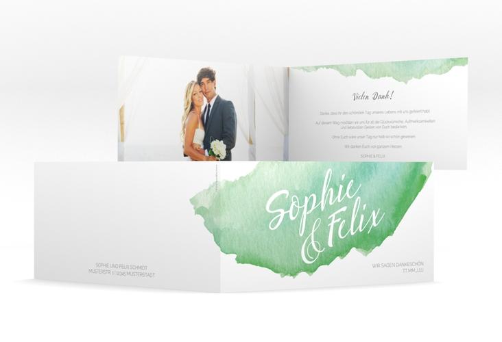 "Dankeskarte Hochzeit ""Aquarella"" DIN lang Klappkarte gruen"