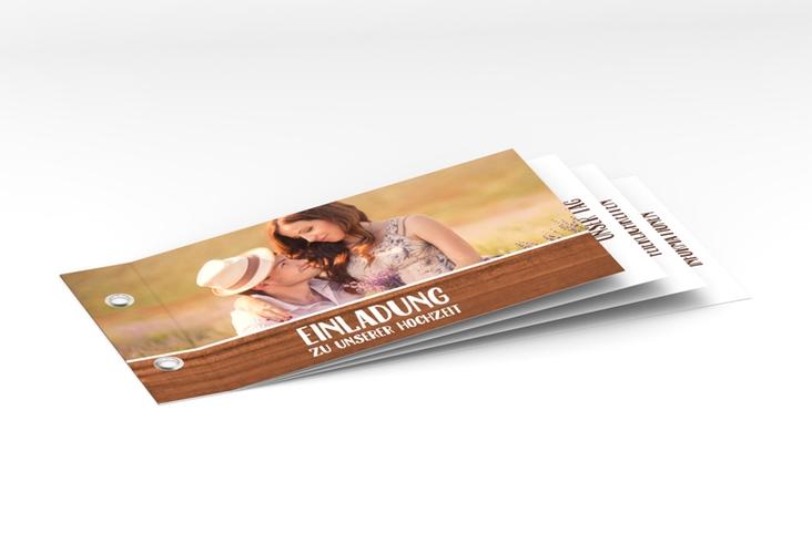 """Hochzeitseinladung """"Landliebe"""" Booklet braun"""
