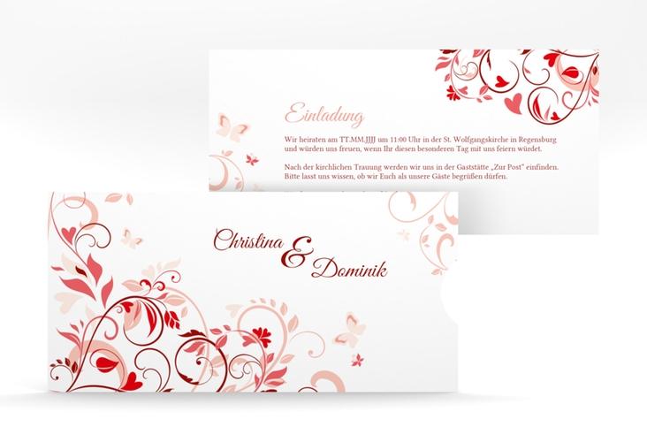 """Hochzeitseinladung """"Lilly"""" Einsteckkarte rot"""