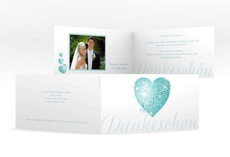 "Danksagungskarte Hochzeit ""Rimini"" DIN lang Klappkarte tuerkis"