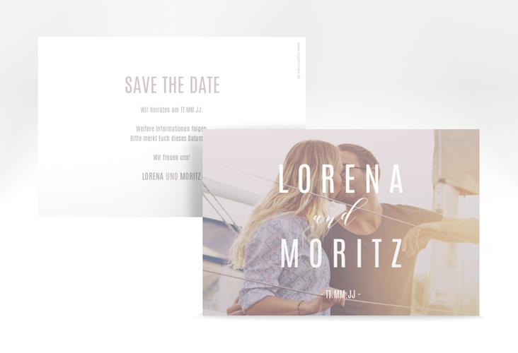 "Save the Date-Karte ""Memory"" A6 quer grau"
