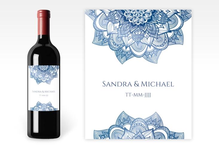"""Weinflaschenetikett Hochzeit """"Delight"""" Etikett Weinflasche 4er Set blau"""
