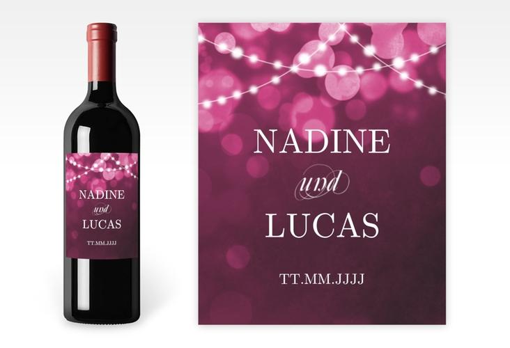 """Weinetikett zur Hochzeit """"Lichtspiel"""" Etikett Weinflasche 4er Set pink"""