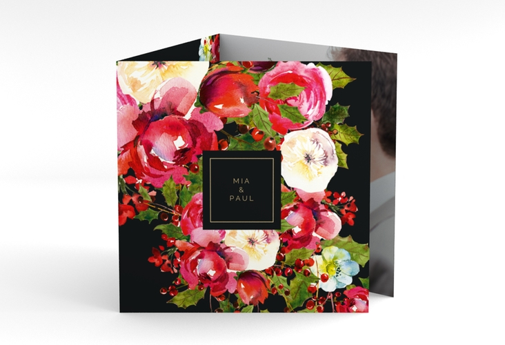 "Dankeskarte Hochzeit ""Blumenpracht"" Quadr. Karte doppelt schwarz"