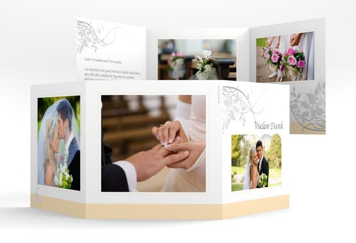 "Dankeskarte Hochzeit ""Florenz"" Quadr. Karte doppelt beige"