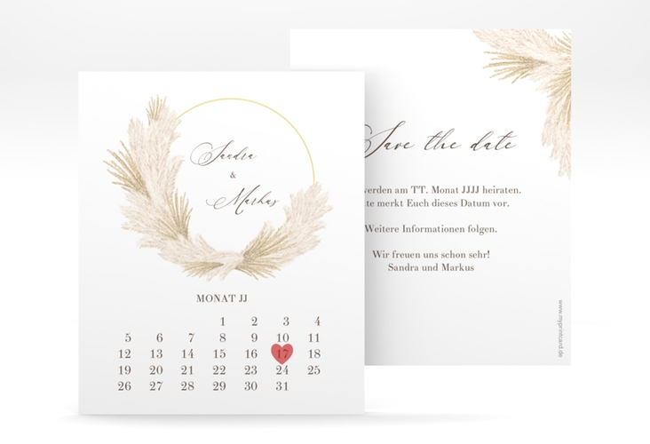 "Save the Date-Kalenderblatt ""Pumila"" Kalenderblatt-Karte weiss"