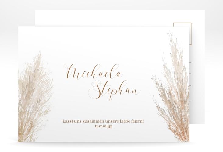 "Save the Date-Postkarte ""Pampasgras"" A6 Postkarte weiss"