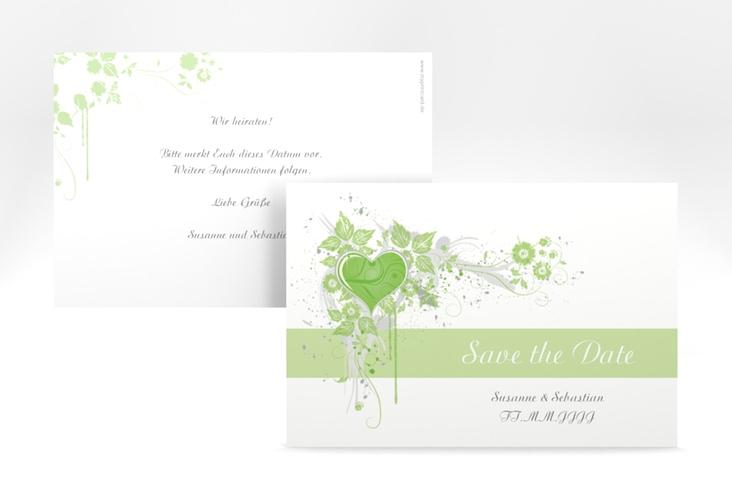 """Save the Date-Karte Hochzeit """"Triest"""" A6 quer gruen"""