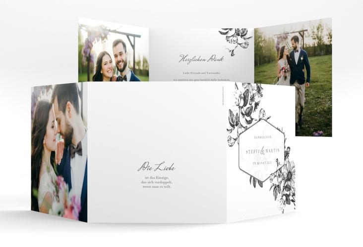 """Dankeskarte Hochzeit """"Magnificent"""" Quadr. Karte doppelt schwarz"""