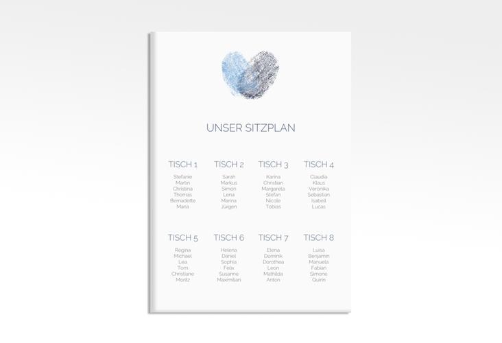 "Sitzplan Leinwand Hochzeit ""Fingerprint"" 50 x 70 cm Leinwand blau"