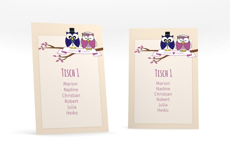 """Tischaufsteller Hochzeit """"Eulenliebe"""" Tischaufsteller beige"""
