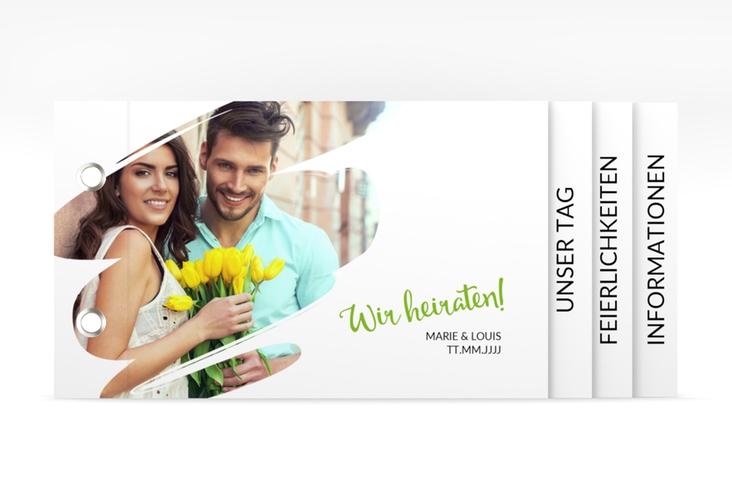 """Hochzeitseinladung """"Felice"""" Booklet gruen"""