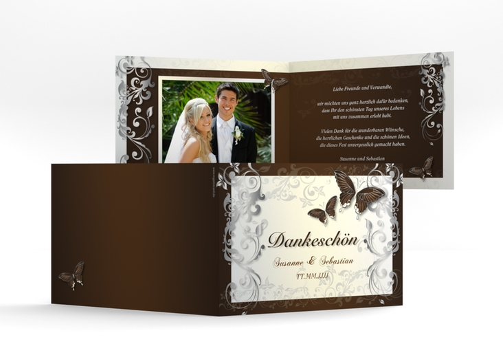 "Danksagungskarte Hochzeit ""Toulouse"" A6 Klappkarte Quer braun"