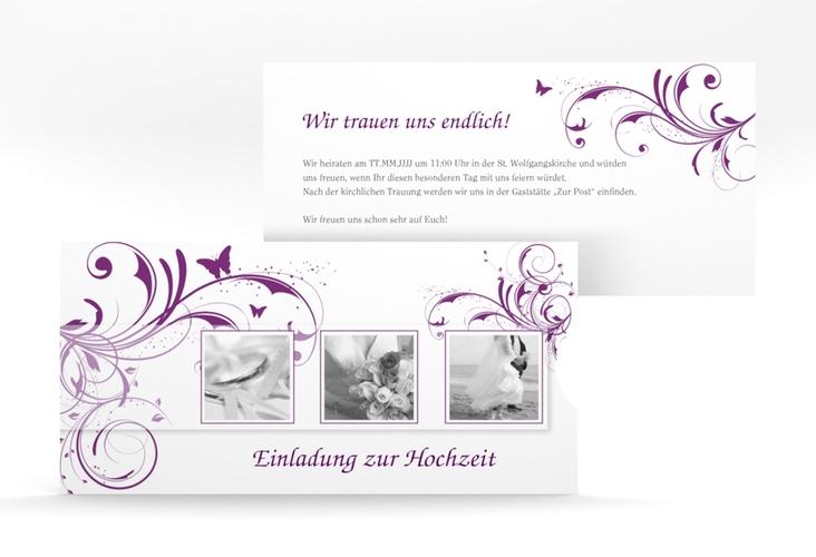 """Hochzeitseinladung """"Palma"""" Einsteckkarte lila"""