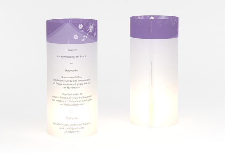 """Windlicht Menü Hochzeit """"Verona"""" Windlicht lila"""