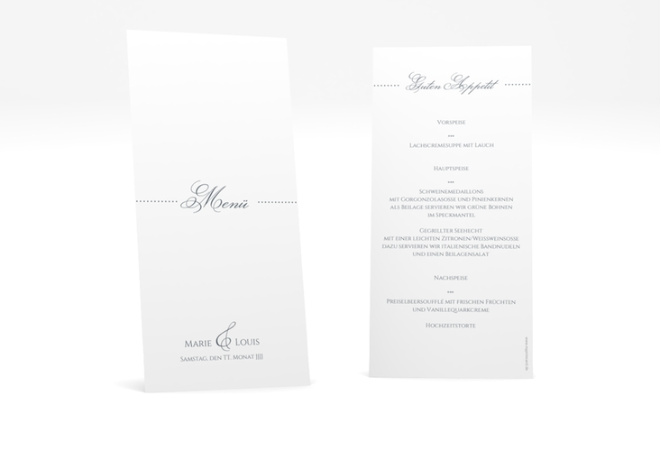 "Menükarte Hochzeit ""Pure"" DIN lang hoch grau"