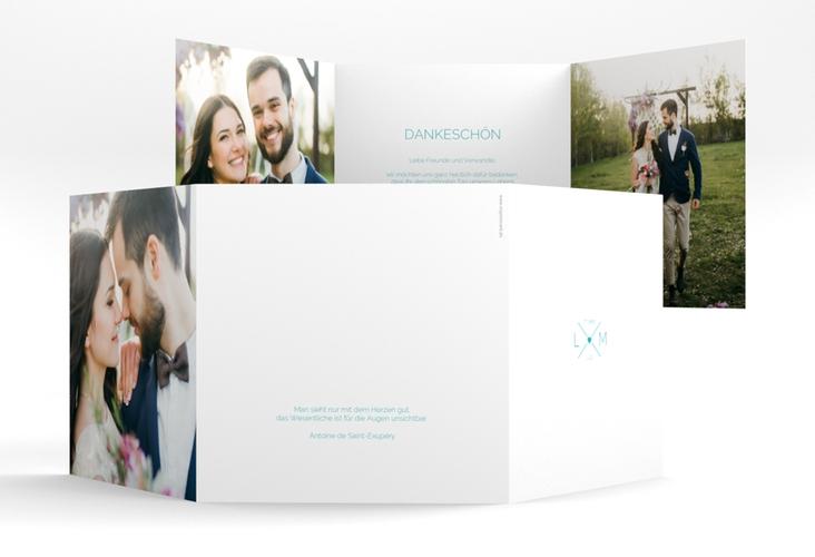 "Dankeskarte Hochzeit ""Initials"" Quadr. Karte doppelt tuerkis"