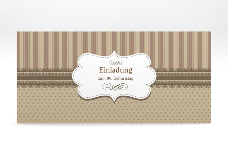 """Einladungskarte """"Heinrich/Henriette"""" DIN lang braun"""