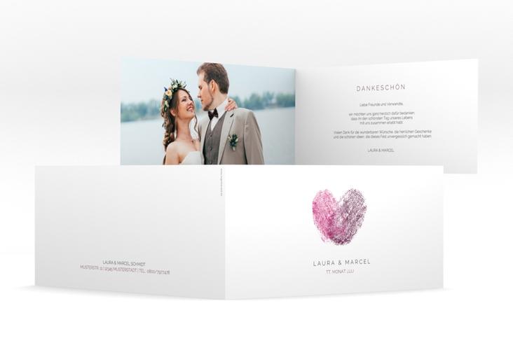 "Dankeskarte Hochzeit ""Fingerprint"" DIN lang Klappkarte"
