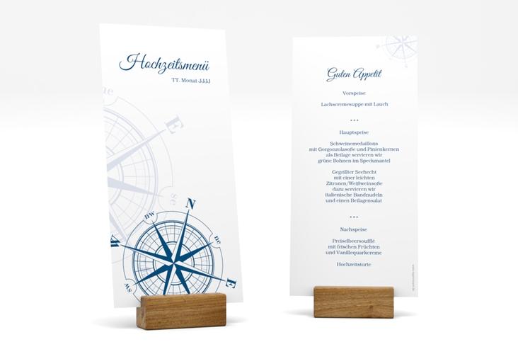 "Menükarte Hochzeit ""Windrose"" DIN lang hoch"