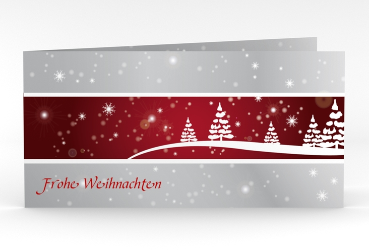 """Weihnachtskarte """"Magical"""" DIN lang Klappkarte rot"""