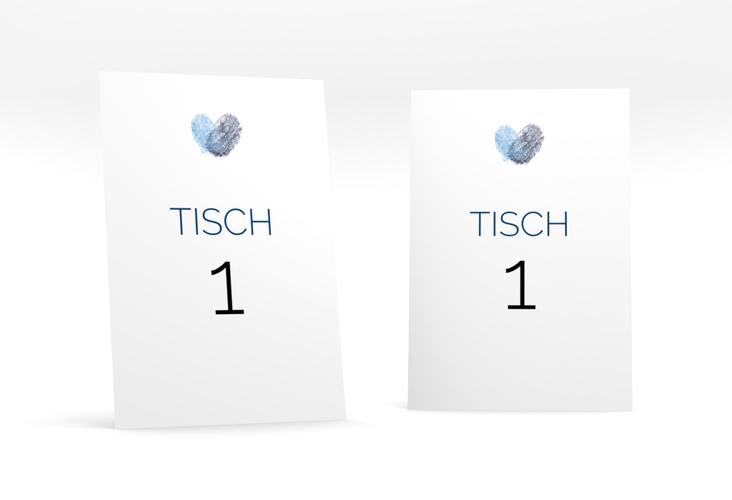 """Tischnummer Hochzeit """"Fingerprint"""" Tischaufsteller blau"""