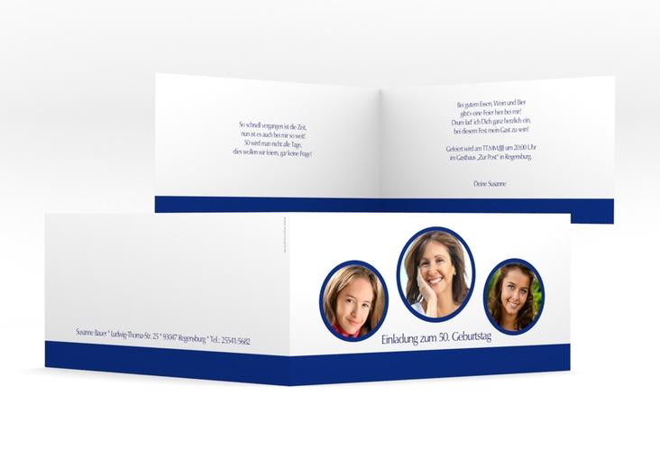 """Einladungskarte """"Anton/Antonia"""" DIN lang Klappkarte blau"""