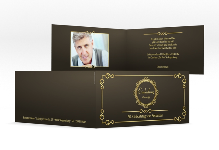 "Einladungskarte ""Bert/Berta"" DIN lang Klappkarte braun"