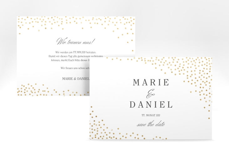 "Save the Date-Karte ""Glitter"" A6 quer weiss"
