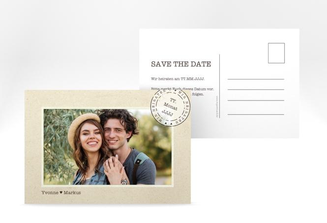 """Save the Date-Postkarte """"Stamp"""" A6 Postkarte"""