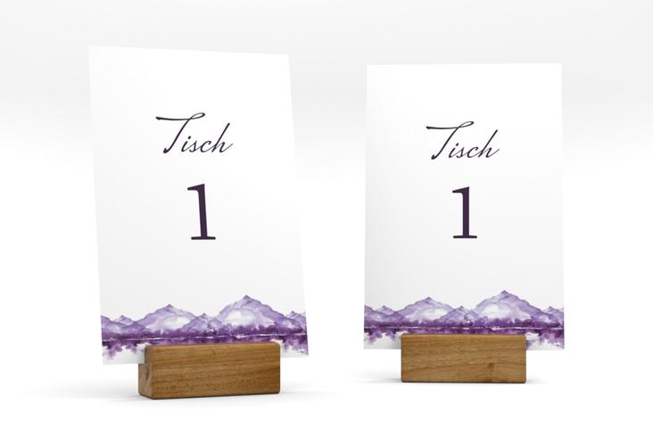 """Tischnummer Hochzeit """"Bergliebe"""" Tischaufsteller lila"""